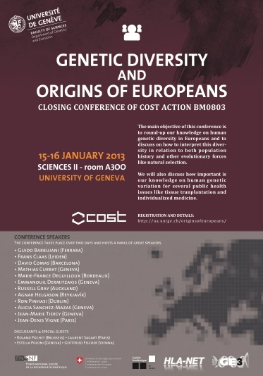 Genetic Diversity and the Origins of Europeans - 15-16 January 2013 | Université de Genève, Sciences II, Genève